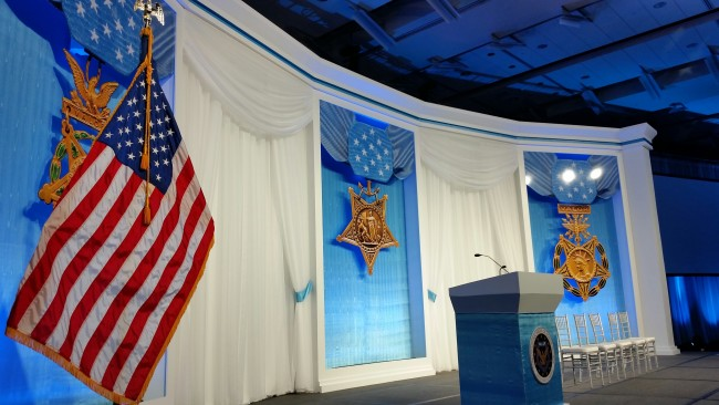 The Medal of Honor Society Convention's Patriot Awards Gala at the Knoxville Convention Center featured an elegant and patriotic stage. (Photo by the Knoxville Convention Center)