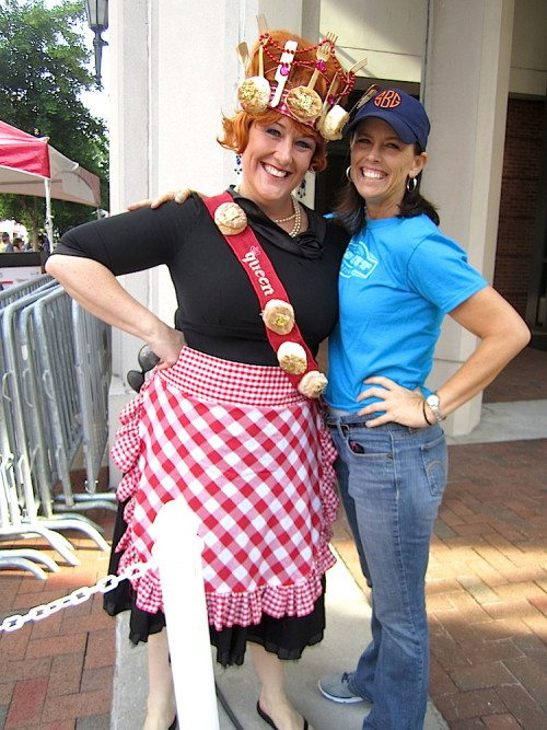 Erin Donovan, left,  the Biscuit Queen, with Shanna Browning at the 2015 International Biscuit Festival (Photo courtesy of the Blue Streak)