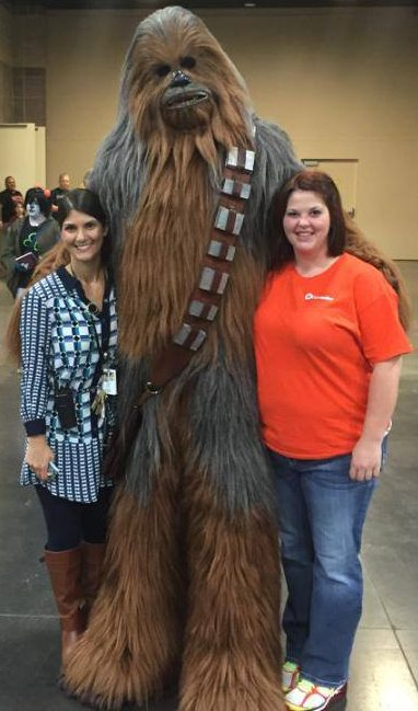 Kate Jackson, left, with Chewbacca and Becky Williams of ACES (All Convention & Expo Services), the in-house decorator company, at the Fanboy Expo at the Knoxville Convention Center.