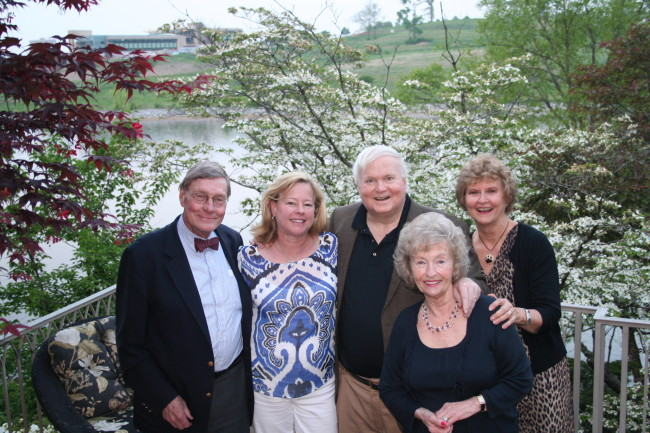 From left, Peter Keese, Neill Townsend, Pat Conroy, Betsey Bush, and Ginny Weatherstone at the 2014 Carry the Torch sponsors' reception.