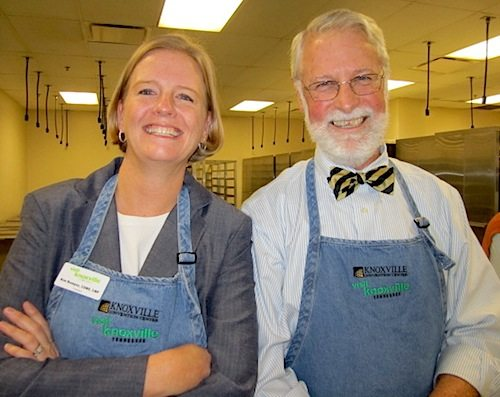 Kim Bumpas of Visit Knoxville with City Councilman Finbarr Saunders at Biscuitfest. (Blue Streak photo)