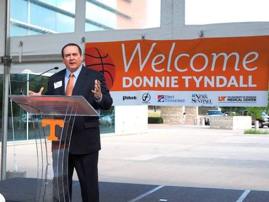 University of Tennessee Coach Donnie Tyndall speaks at his welcome reception. The Vols head basketball coach did an excellent job with pace and timing and using humor to engage his audience, some of whom were meeting him for the first time.