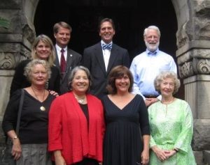 Knox Heritage representatives and elected officials support Historic Westwood. Pictured from left (front row): Knox Heritage Sustainability Campaign Co-Chair Dorothy Stair, Knoxville Mayor Madeline Rogero, Knox Heritage Executive Director Kim Trent and Knox Heritage Sustainability Campaign Co-Chair Betsey Bush; (back row) Knox Heritage Board Chair Annette Brun, Knox County Mayor Tim Burchett and City Councilmen and Finbarr Saunders.