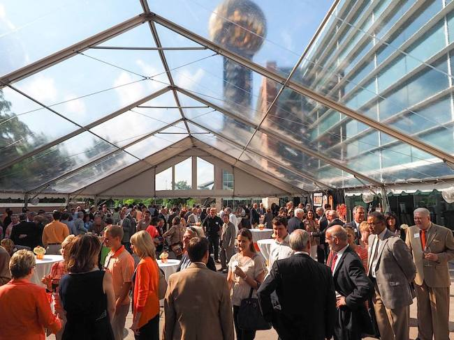 A large tent was in place at the Knoxville Convention Center for the Donnie Tyndall reception.