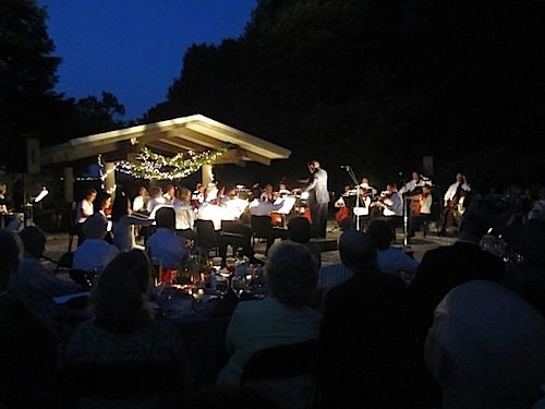 The Knoxville Symphony Orchestra performs at nightfall at Ijams Nature Center.