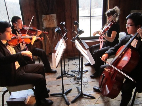 Members of the Knoxville Symphony Youth Orchestra perform during a reception at Blackberry Farm: Kai Smith, Gaibo Zhang, Holly Aslinger and Daniel Hong.