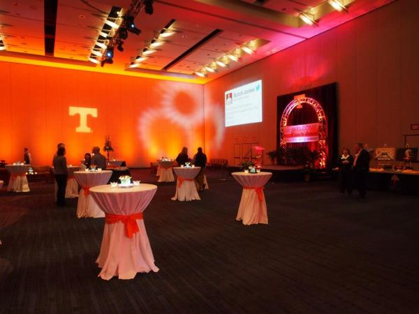 M&M Productions USA handled the lighting for the Butch Jones reception, including the Power T and Twitter images on  the walls at the Knoxville Convention Center.
