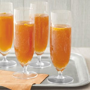 Orange-Cherry champagne cocktails are a colorful start to the New Year.